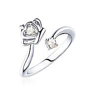 Lureme®  Korean Fashion 925  Sterling Silver Crystal Crown Cuff Rings