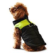 개 코트 조끼 레드 오렌지 옐로우 그린 블루 블랙 핑크 강아지 의류 겨울 모든계절/가을 컬러 블럭 캐쥬얼/데일리 따뜻함 유지