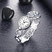 아가씨들 패션 시계 팔찌 시계 석영 합금 밴드 우아한 실버 실버