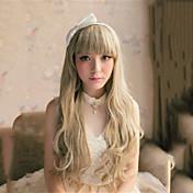 캡 혼합 색상 긴 길이 고품질의 천연 곱슬 머리 합성 가발