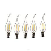 E14 LED 캔들 조명 CA35 2 COB 200 lm 따뜻한 화이트 장식 AC 220-240 V 5개