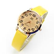 아가씨들 패션 시계 캐쥬얼 시계 석영 캐쥬얼 시계 가죽 밴드 빈티지 블랙 블루 핑크 노란색 상표