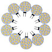 10pcs g4 15led smd5730 3w 200-300lm 따뜻한 흰색 / 흰색 장식 dc12v led 쌍 핀 조명