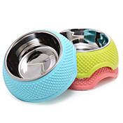 고양이 강아지 그릇&물병 먹이 애완동물 그릇 & 수유 휴대용 폴더 옐로우 블루 핑크