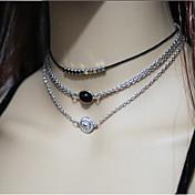 목걸이 계층화 된 목걸이 보석류 일상 / 캐쥬얼 패션 / 빈티지 합금 실버 1 세트 선물