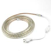 4m / 1pcs 220v 5050 llevó la cinta flexible de la tira de la cuerda de luz navidad impermeable al aire libre jardín enchufe exterior