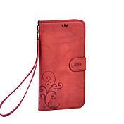 용 지갑 / 카드 홀더 / 스탠드 / 플립 케이스 풀 바디 케이스 꽃장식 하드 인조 가죽 Huawei 화웨이 P9 / Huawei P9 Plus