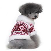 개 코트 스웨터 레드 블랙 강아지 의류 겨울 모든계절/가을 눈송이 클래식 따뜻함 유지