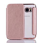 Para Flip Funda Cuerpo Entero Funda Un Color Dura Cuero Sintético para Samsung S7 edge / S7 / S6 edge / S6