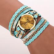 Women's Fashion Watch Wrist watch Bracelet Watch Punk Colorful Quartz PU Band Vintage Leopard Bohemian Charm Bangle Cool CasualBlack Blue