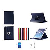 애플 아이 패드 (6) 아이 패드 AIR2 케이스 + 화면 보호기 + 스타일러스 2015 새로운 고품질의 회전 시리즈 스탠드 가죽 케이스