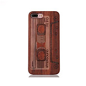 For Shockproof Embossed Pattern Case Back Cover Case Tape Pattern Hard Rosewood and PC Combination for Apple iPhone 7 7 Plus 6s 6 Plus SE 5s 5