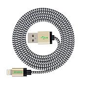 MFI 3 m (10 pies) de cable trenzado rayo de sincronización y carga USB para el iphone Apple 7 6s 6 Plus SE 5s 5c 5 plus / ipad air / Mini iPad