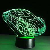 3d deco motor de automóvil de la luz del coche usb de la forma táctil carga lámpara del interruptor de niños de colores de luz nocturna