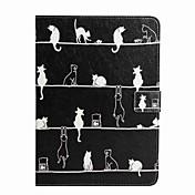 제품 케이스 커버 지갑 카드 홀더 스탠드 플립 패턴 풀 바디 케이스 고양이 하드 인조 가죽 용 iPad (2017) Pro10.5 Pro9.7