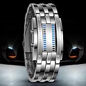 남성 손목 시계 디지털 시계 LED 방수 디지털 스테인레스 스틸 밴드 럭셔리 블랙 실버