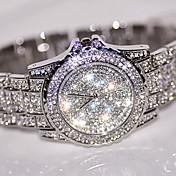 아가씨들 드레스 시계 패션 시계 손목 시계 독특한 창조적 인 시계 모조 다이아몬드 시계 중국어 석영 / 라인석 스테인레스 스틸 밴드 멋진 캐쥬얼 실버 골드