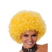Pelucas sintéticas Sin Tapa Medio Rizado Amarillo Peluca afroamericana Para mujeres de color Peluca de cosplay Las pelucas del traje
