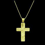 Hombre Colgantes Forma de Cruz Chapado en Oro Metal joyería de disfraz Joyas Para Diario