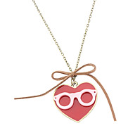 Glasses And Heart-Shaped Retro Halskette