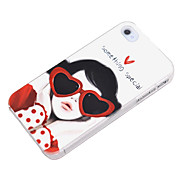 Cute Girl with Eyaglasses Pattern Hard Case for iPhone 4/4S