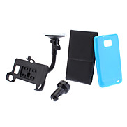 PU Leather Case, TPU Soft Case, Car-Charger, Car-Holder and USB Cable for Samsung Galaxy S2 I9100