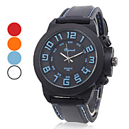 Unisex 3D Numbers Silicone Analog Quartz Wrist Watch (Assorted Colors)