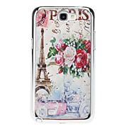 Pairs Eiffel Tower Postcard Style Sequins Starry Diamond Texture Back Case for Samsung Note 2 N7100