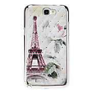 Eiffel Tower and Rose Sequins Starry Diamond Texture Back Case for Samsung Note 2 N7100