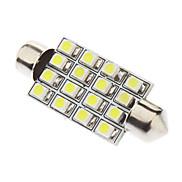 Festoon 41mm 1.5W 16xSMD3528 White Light LED Bulb for Car Reading Lamp (12V)