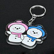Snowman Couple Style Metal Keychain