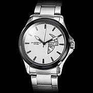 Men's Calendar Function Black Case Steel Analog Quartz Wrist Watch (Silver)