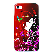 Abstract Girl Painting Zircon Back Case for iPhone 4/4S