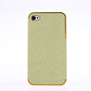 Black PU Leather Cross pattern Gold Chrome Frame Case for iPhone 4/4S