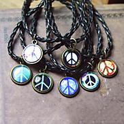 Random Pattern Peace Sign Time Gem 22cm Unisex Multicolor Leather Charm Bracelet(1 Pc)
