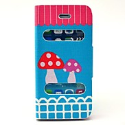 Refined Mushroom Pattern PU Leather Full Body Case with Stand for iPhone 5/5S