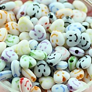 Z&X®  DIY Beads Material Colored Smile Face Printed Heart Shaped Beads 50 PCS(Random Color, Pattern)