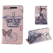 Crown Butterfly Pattern with the Eiffel Tower PU Full Body Case with Card Slot for Motorola MOTO X