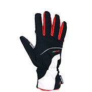 KORAMAN Black and Red Nylon Warm-Keeping Full Finger Cycling Gloves