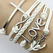 Vintage Cross Love 20cm Unisex White Leather Wrap Bracelet(1 Pc)
