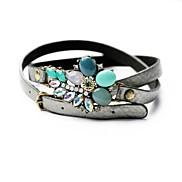 Fashion 54cm Flower Alloy PU Leather Wrap Bracelet (1 Pc)