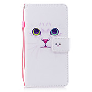 For Apple iPhone 7 7 Plus 6S 6 Plus SE 5S 5 Case Cover White Cat Pattern Painted PU Skin Material Card Stent Wallet Phone Case
