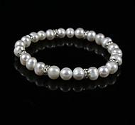elegantes damas de la perla pulsera de cadena de aleación de plata
