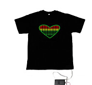 Sound and Music Activated EL Visualizer VU-Spectrum Dancer T-shirt (4*AAA)