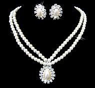 Beautiful Clear Crystals And Imitation Pearls Jewelry Set,Including Necklace And Earrings