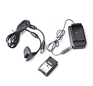 4-in-1 Charging Kit with Rechargeable Battery (4800mAH) for Xbox 360 Controller (Black)