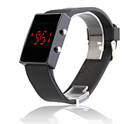Black Silicone Band Mirror Face Red LED Sports Wrist Watch Cool Watch Unique Watch