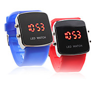 Couple's Red LED Digital Square Case Silicone Band Wrist Watches (1-Pair, Blue & Red)