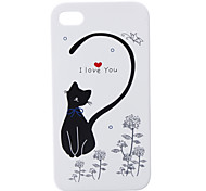 Unique Priting Protective Back Case for iPhone 4 - Little Cat (white)