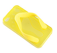Flip-Flog Slipper TPU Cover Case for iPhone 4 - Yellow